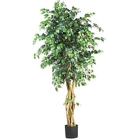 Nearly Natural 6'H Silk Palace-Style Ficus Tree With Pot, Green