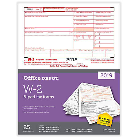 """Office Depot® Brand W-2 Inkjet/Laser Tax Forms, 2019 Tax Year, 2-Up, 6-Part, 8-1/2"""" x 11"""", Pack Of 25 Form Sets"""