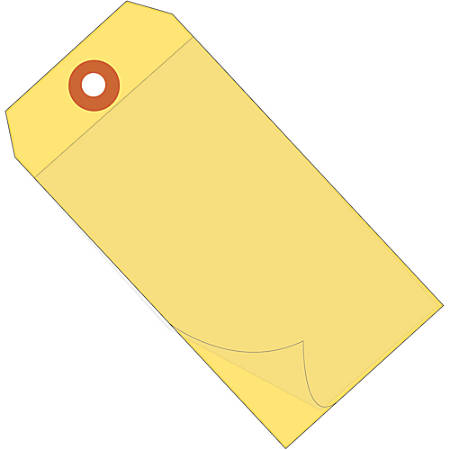 """Office Depot® Brand Self-Laminating Tags, 6 1/4"""" x 3 1/8"""", 95% Recycled, Yellow, Case Of 100"""