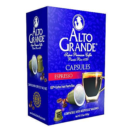Alto Grande Espresso Capsules, 3.5 Oz, Pack Of 18 Capsules
