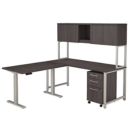 """Bush Business Furniture 400 Series 72""""W L Shaped Desk And Height Adjustable Return With Hutch And Storage, Storm Gray, Premium Installation"""