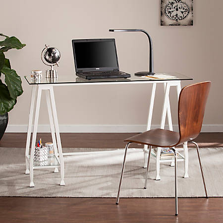 Southern Enterprises Jaymes Metal Glass A-Frame Writing Desk, White