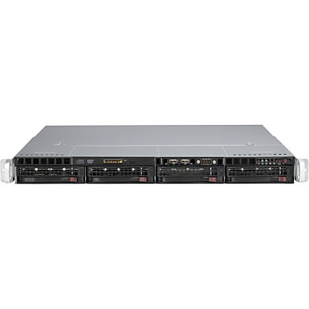 """Supermicro SuperChassis SC813MTQ-R400CB System Cabinet - Rack-mountable - Black - 1U - 4 x Bay - 4 x Fan(s) Installed - 2 x 400 W - µATX, ATX Motherboard Supported - 33.51 lb - 6 x Fan(s) Supported - 4 x External 3.5"""" Bay - 1x Slot(s)"""