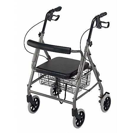 "DMI® Adjustable Aluminum Hemi Rollator With Seat, 31 1/2"" - 4 1/2"" x 24"", Titanium"