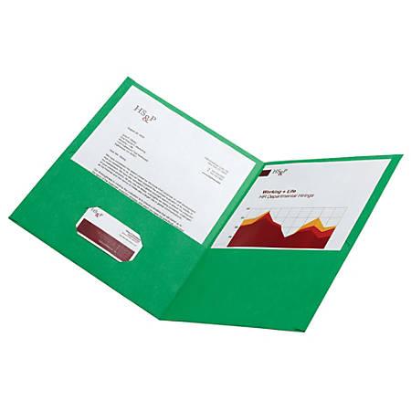 Office Depot® Brand Leatherette Twin-Pocket Portfolios, Light Green, Pack Of 10