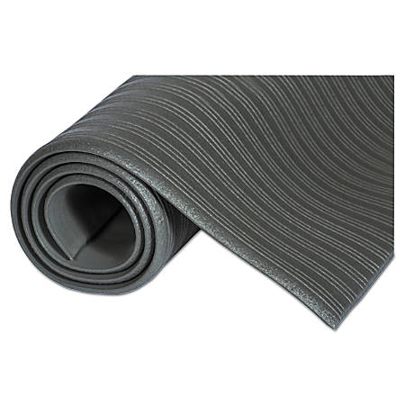 Crown Ribbed Vinyl Anti-Fatigue Mat, 2' x 3', Gray