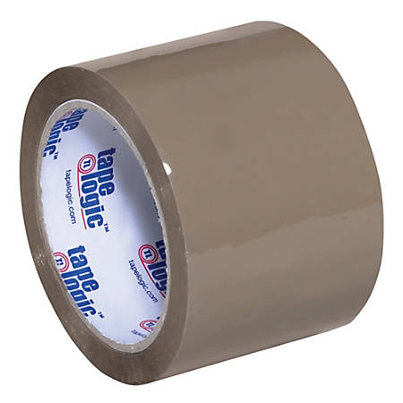 "Tape Logic® Acrylic Sealing Tape, 3"" Core, 3"" x 110 Yd., Tan, Pack Of 6"