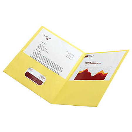 Office Depot® Leatherette Twin-Pocket Portfolios, Yellow, Pack Of 10