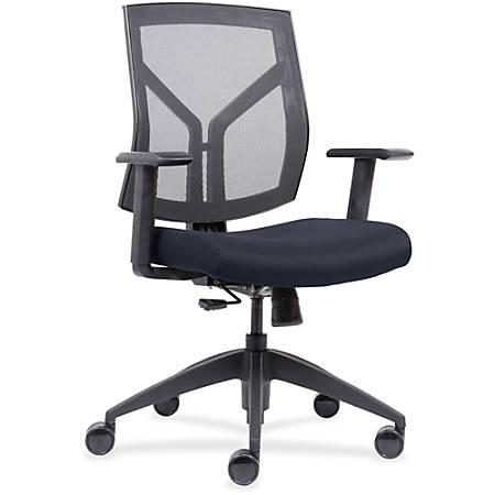 Lorell™ Mesh/Fabric Mid-Back Chair, Dark Blue/Black