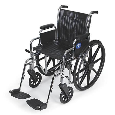 """Medline Excel 2000 Wheelchair, 20"""" Seat, Black"""