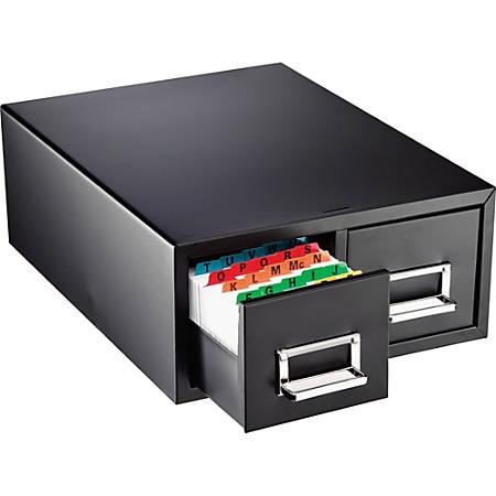 "Major Metalfab 16"" Card File Box, Double Drawer, 4"" x 6"", Black"