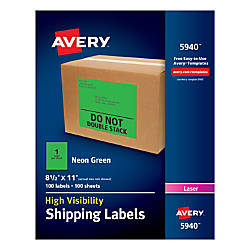Avery High Visibility Permanent Shipping Labels