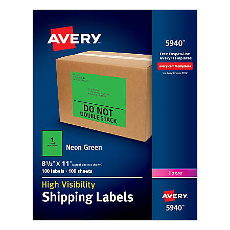 "Avery® High-Visibility Permanent Shipping Labels, 5940, 8 1/2"" x 11"", Neon Green, Pack Of 100"