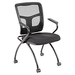 Lorell Ergonomic MeshFabric Nesting Chair Black