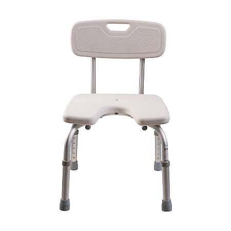 """DMI® U-Shape Bath And Shower Chair With Removable Backrest, 17""""H x 15 3/4""""W x 14""""D, White"""
