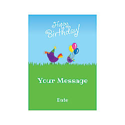 Flat Photo Greeting Card Birthday Birds