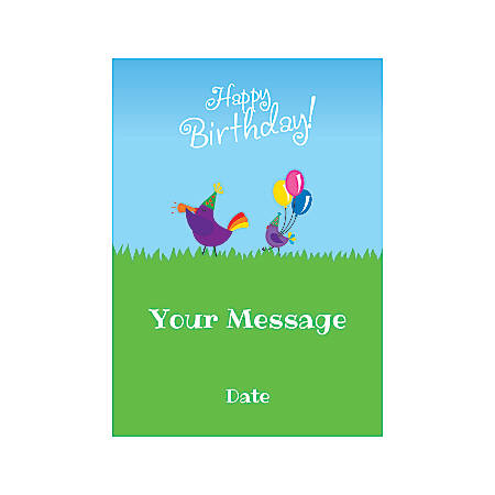 Flat Photo Greeting Card, Birthday Birds, Vertical