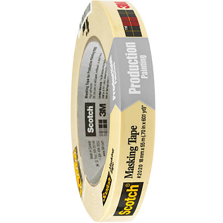 "3M™ 2020 Masking Tape, 3"" Core, 0.75"" x 180', Natural, Case Of 48"