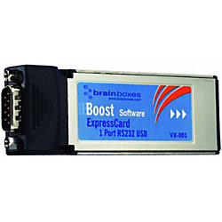 Brainboxes VX-001 1 Port RS-232 Serial Express Card - 1 x 9-pin DB-9 Male RS-232 Serial