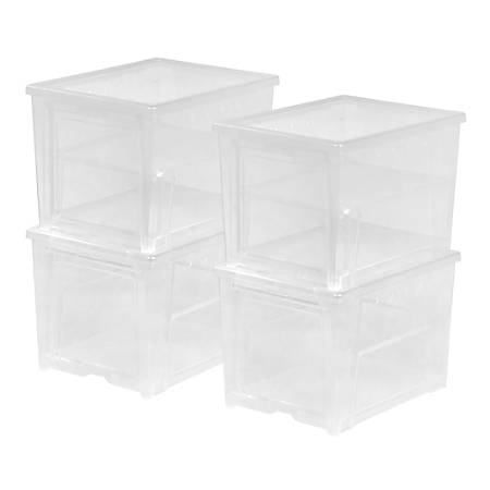 "IRIS Easy Access Shoe Boxes For Women's Shoes, 13-1/4 x 9-3/4"" x 9"", Clear, Pack Of 4 Boxes"
