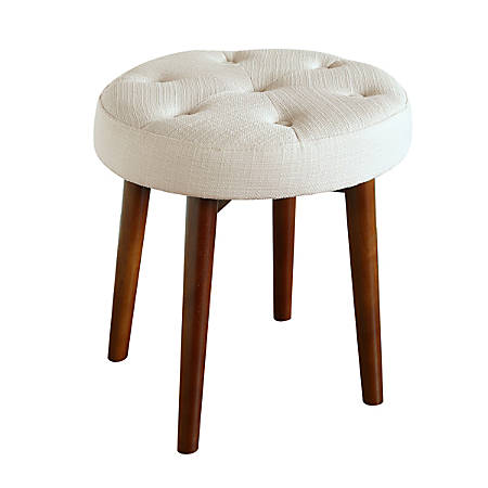 Elle Décor Penelope Round Tufted Stool, Antique Ivory/Brown