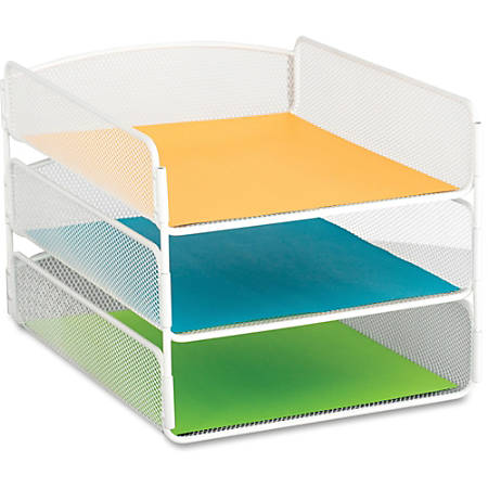 """Safco Onyx Letter Tray - 3 Compartment(s) - 3 Tier(s) - 8"""" Height x 9.3"""" Width x 11.8"""" Depth - Desktop - White - Steel - 1Each"""