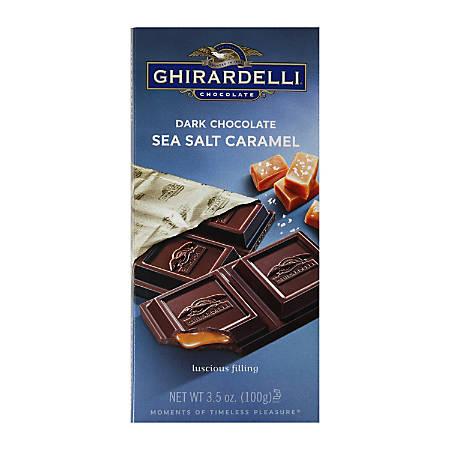 Ghirardelli® Chocolate Bars, Dark Chocolate And Sea Salt Caramel, 3.5 Oz, Pack Of 12 Bars