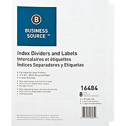 Business Source 3-Hole Punched Laser Index Tabs - 8 x Divider(s) - 8 Tab(s)/Set - 3 Hole Punched - White Tab(s) - 8 / Set