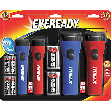 Energizer LED Flashlight Combo Pack - Bulb - D - Red, Blue