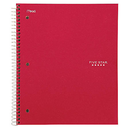 """Five Star College Ruled 3 - subject Notebook - Letter - 150 Sheets - Wire Bound - College Ruled - 8 1/2"""" x 11"""" - Red Cover - Kraft Cover - 1Each"""