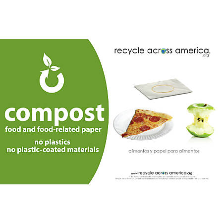 "Recycle Across America Compost Standardized Labels, COMP-5585, 5 1/2"" x 8 1/2"", Green"