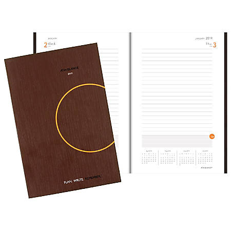 """AT-A-GLANCE® Plan. Write. Remember.® Daily Planning Notebook, 6"""" x 9"""", Gray, January to December 2019"""
