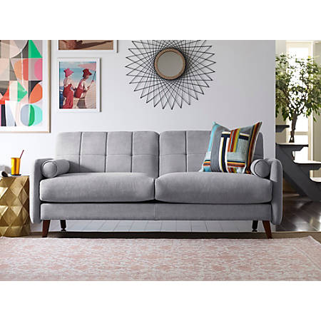 Elle Décor Natalie Mid-Century Modern Loveseat, Light Gray/Chestnut