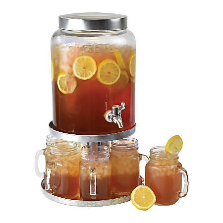 Cake Stand With 2 Gallon Drink Dispenser, 8 Piece Set