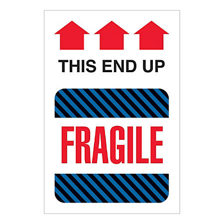 """Tape Logic International Safe-Handling Labels, """"This End Up - Fragile"""", Rectangular, DL1550, 4"""" x 6"""", Multicolor, Roll Of 500 Labels"""