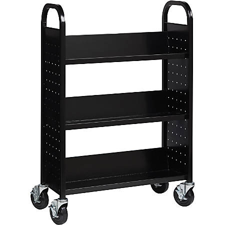 "Lorell Single-sided Steel Book Cart - 3 Shelf - Round Handle - 5"" Caster Size - Steel - 32"" Width x 14"" Depth x 46"" Height - Black"