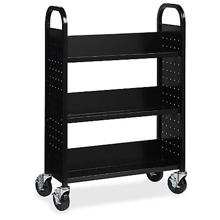 "Lorell Single-sided Steel Book Cart - 3 Shelf - Round Handle - 5"" Caster Size - Steel - 32"" Width x 14"" Depth x 46"" Height - Black"