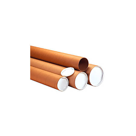 """Office Depot® Brand Heavy-Duty Kraft Mailing Tubes, 4"""" x 24"""", 80% Recycled, Kraft, Pack Of 12"""