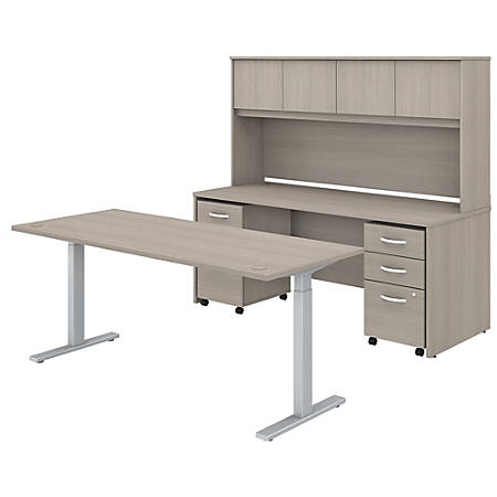 """Bush Business Furniture Studio C 72""""W x 30""""D Height-Adjustable Standing Desk, Credenza With Hutch And Mobile File Cabinets, Sand Oak, Premium Installation"""
