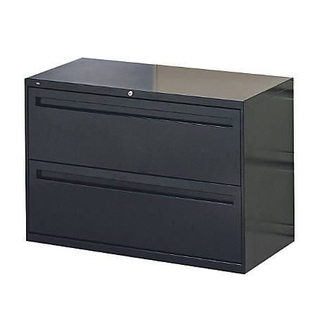 "HON® Brigade 700 Series Lateral File, 2 Drawers, 28-3/8""H x 42""W x 19-1/4""D, Black"
