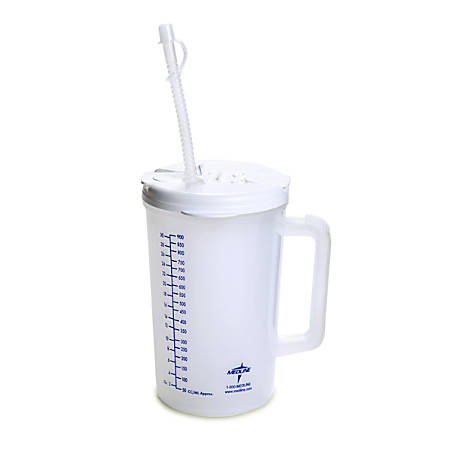 Medline Insulated Carafes, Graduated, 32 Oz, Clear/White, Pack Of 50