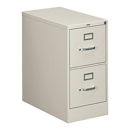 "HON® 310 Series Vertical File, 2 Drawers, 26 1/2"" D, Light Gray"