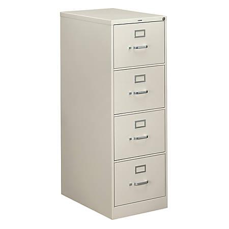 "HON® 310 Series Vertical File, 4 Drawers, 26-1/2"" D, Light Gray"