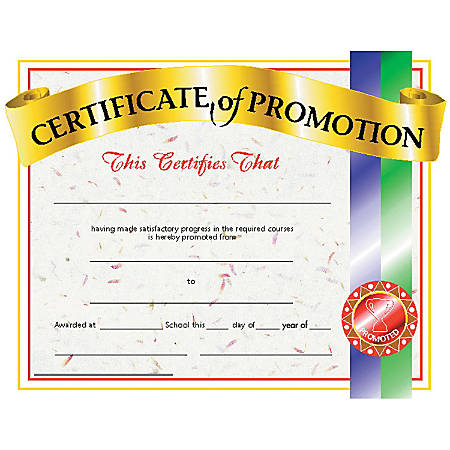 "Hayes Certificates Of Promotion, 8 1/2"" x 11"", Multicolor, 30 Certificates Per Pack, Bundle Of 6 Packs"