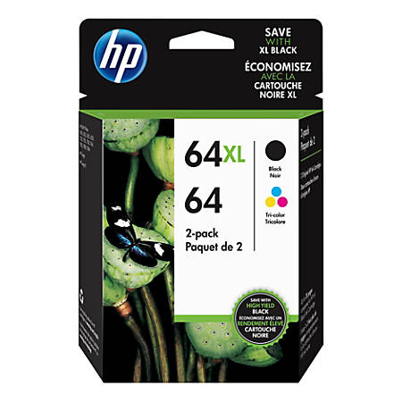 HP 64/64XL Tricolor/Black Ink Cartridges, Pack Of 2 Cartridges