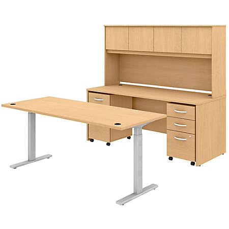 """Bush Business Furniture Studio C 72""""W x 30""""D Height-Adjustable Standing Desk, Credenza With Hutch And Mobile File Cabinets, Natural Maple, Premium Installation"""