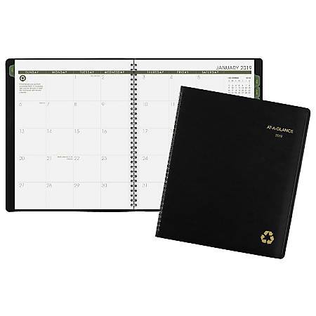 """AT-A-GLANCE® 13-Month Planner, 8 7/8"""" x 11"""", 100% Recycled, Black, January 2019 to January 2020"""
