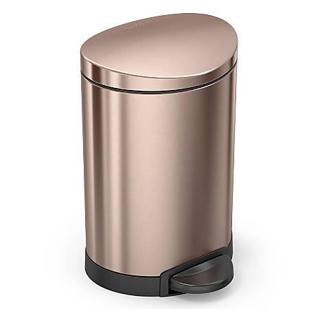 simplehuman Semi-Round Steel Step Trash Can, 1.6 Gallons, Rose Gold