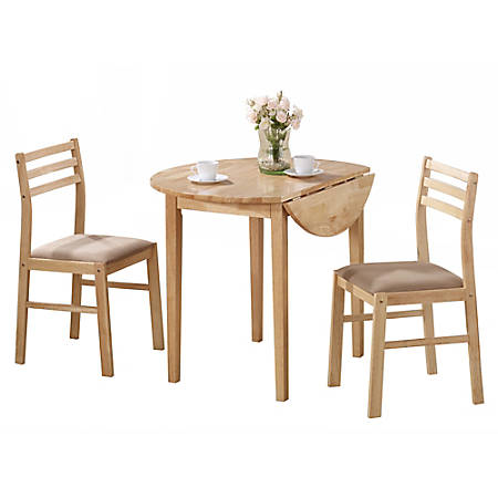 Monarch Specialties Holly Dining Table With 2 Chairs, Natural