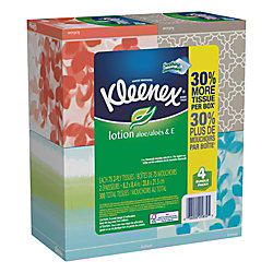 Kleenex® FSC Certified Lotion 2-Ply Facial Tissues, 75 Sheets Per Box, Pack Of 4
